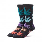 HUF Melange Plantlife Crew Sock, Black Multi