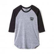 Stussy W Dice Raglan Tee, Grey Heather