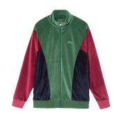 Stussy Velour Paneled Track Jacket, Green