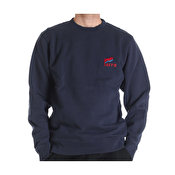 Parra striped flag crew neck sweater, Navy blue
