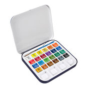 Daler Rowney Aquafine Watercolour Travel Tin, 24 pcs