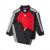 Adidas Kids I P SS Tracksuit, Black Red
