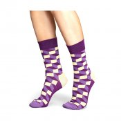 Happy Socks Filled Optic, Purple Light Yellow
