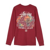 Stussy One World LS Tee, Wine