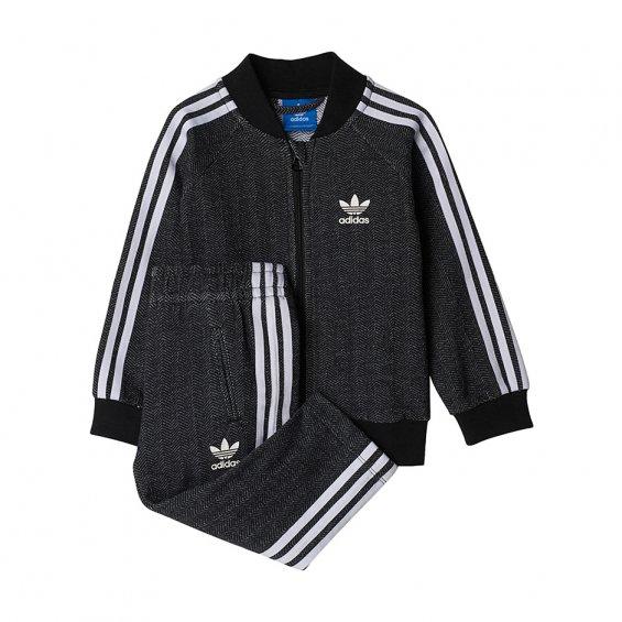 Adidas Kids I Superstar FT Tracksuit, Black White