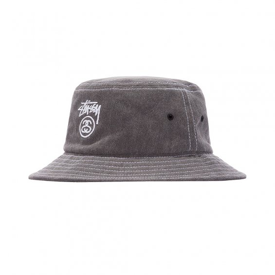 Stussy Washed Stock Lock Bucket Hat, Black