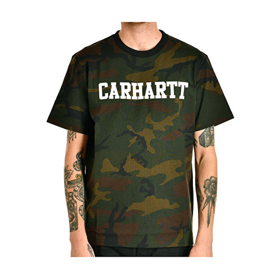 Carhartt S/S College T-Shirt, Camo Evergreen White