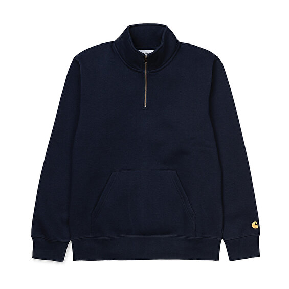 Carhartt Chase Neck Zip Sweat, Dark NavyGold
