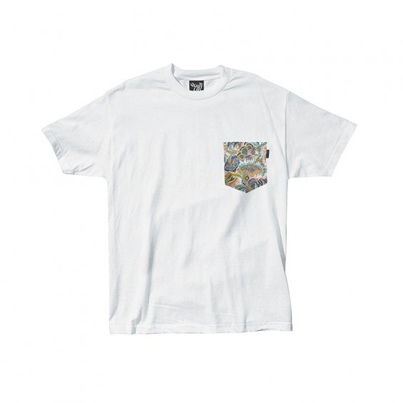 The Quiet Life Paisley Coral Pocket Tee, White