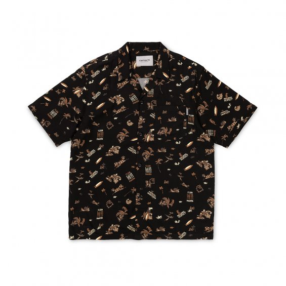Carhartt SS Club Pacific Shirt, Black Club Pacific Print