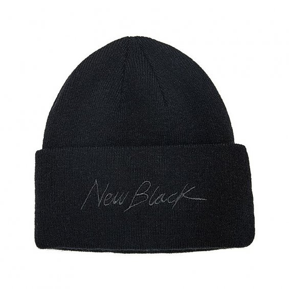New Black Signature Beanie, Black