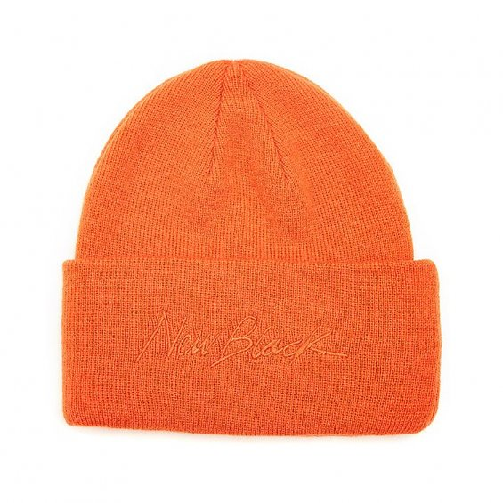 New Black Signature Beanie, Orange