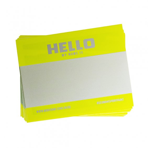 Hello my Name Is stickers, Neon Yellow