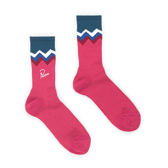 Parra mountain striped crew sock EU41-45, Pink/Blue