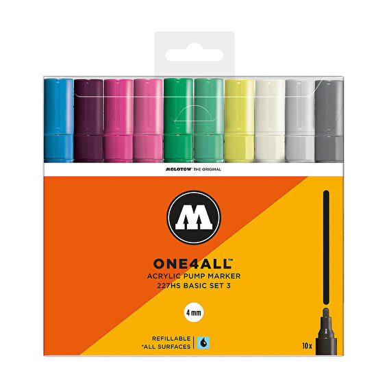 Molotow ONE4ALL 227HS Basic-Set 3, 10pcs