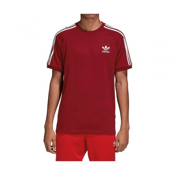 Adidas Originals 3-Stripes Tee, Burgundy White