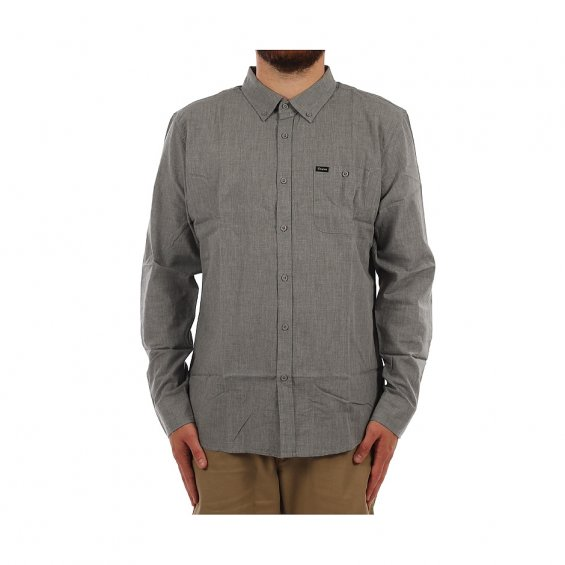 Brixton Central LS Woven Shirt, Heather Grey