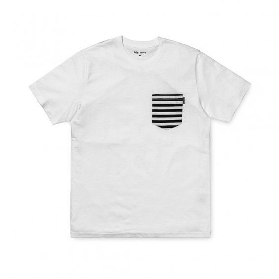 fd14e1e5 Carhartt SS Contrast Pocket T-Shirt, White Barkley Stripe Navy | Highlights
