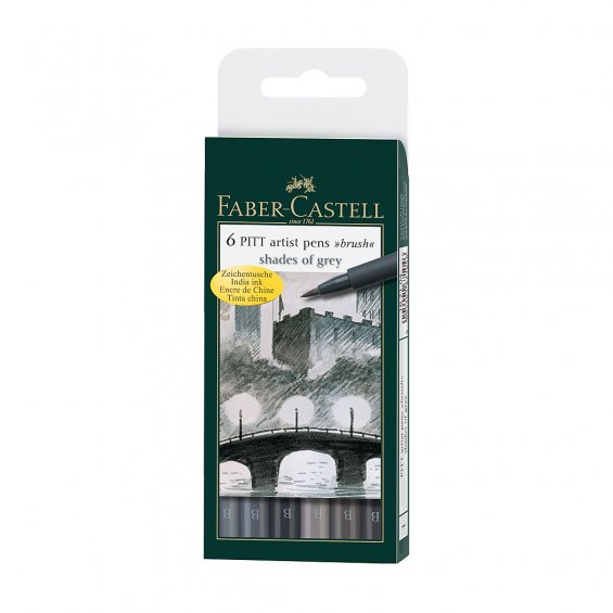 Faber-Castell PITT Artist Pen B 6 Set, Shades Of Grey