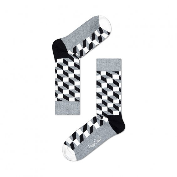 Happy Socks Filled Optic, Black Grey White