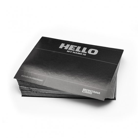 Hello My Name Is stickers, Black