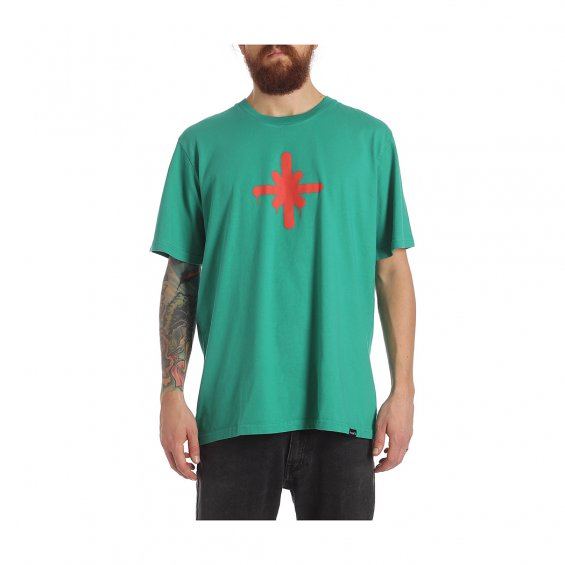 Highlights logo Tee, Teal Pop Red