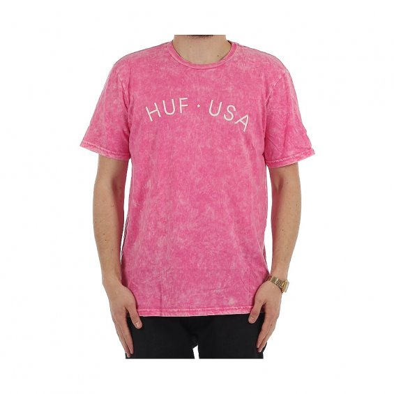 HUF USA Washed Script Tee, Light Pink