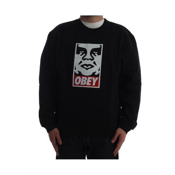Obey Icon Face Crew Black