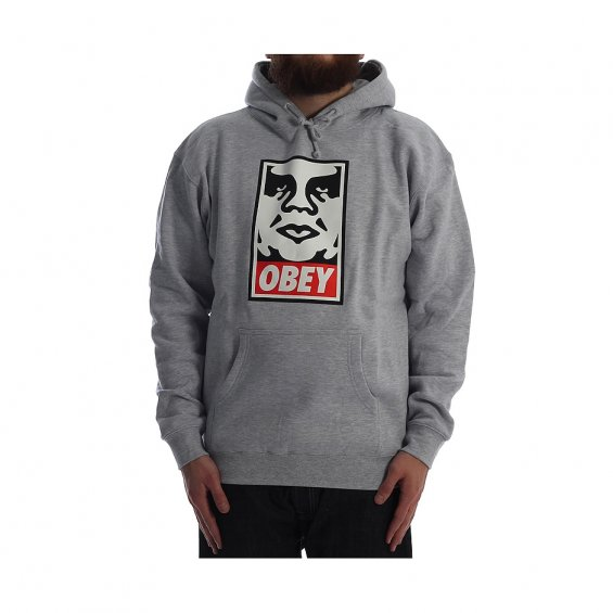 Obey Icon Face Hood, Heather Grey