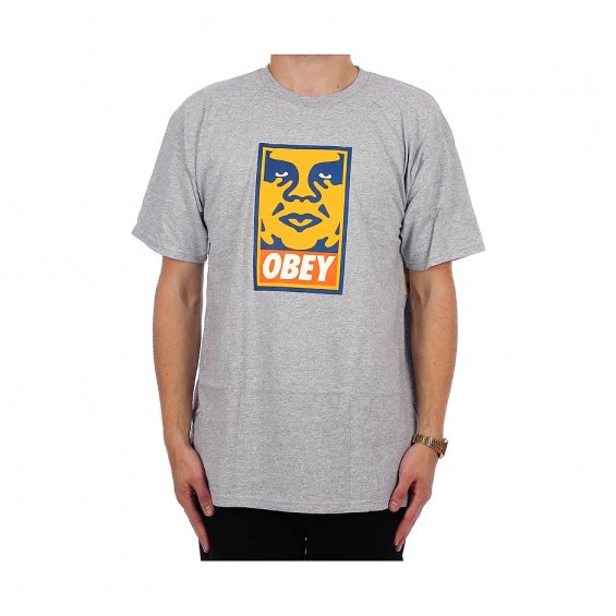 Obey Orange Icon Face, Heather Grey