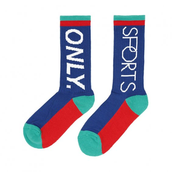 ONLY Logo Sports Sock, Royal Salmon Teal