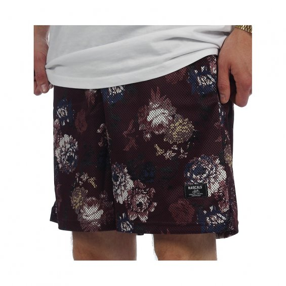 Rascals Flower Mesh Shorts, Bordeaux