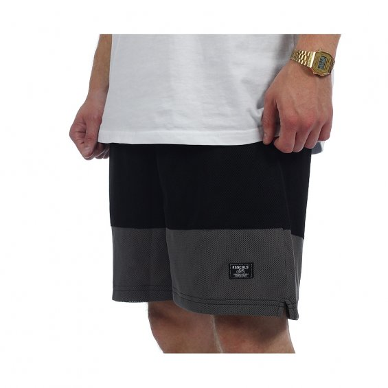 Rascals Two Toned Mesh Shorts, Black Grey