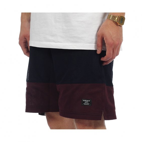 Rascals Two Toned Mesh Shorts, Navy Bordeaux