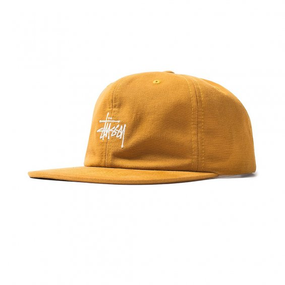 Stussy Washed Oxford Strapback Cap, Mustard