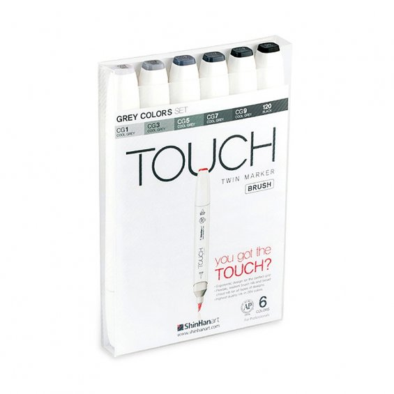 TOUCH Twin Marker Brush Set 6, Grey Colors