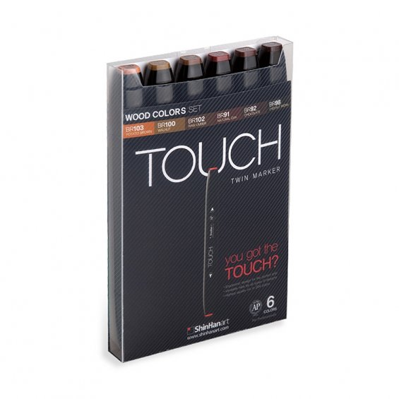 TOUCH Twin Marker Set 6, Wood Colors