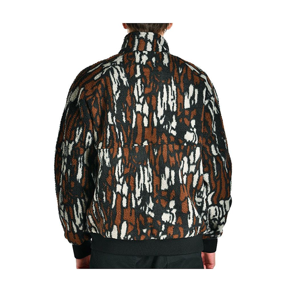 Stussy Tree Bark Fleece Jacket, Brown