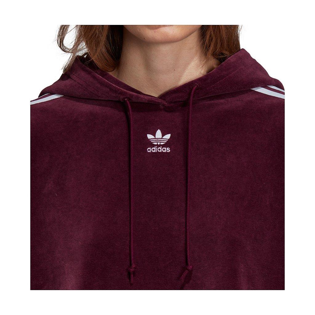 Adidas Originals W Cropped Velour Hoodie, Maroon
