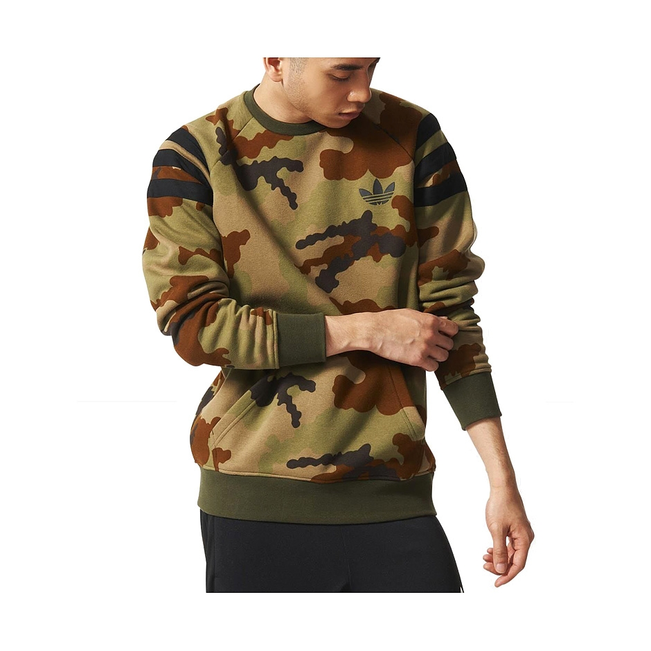 save up to 80% save off discount shop Adidas Fitted Crew, Earkha Camo