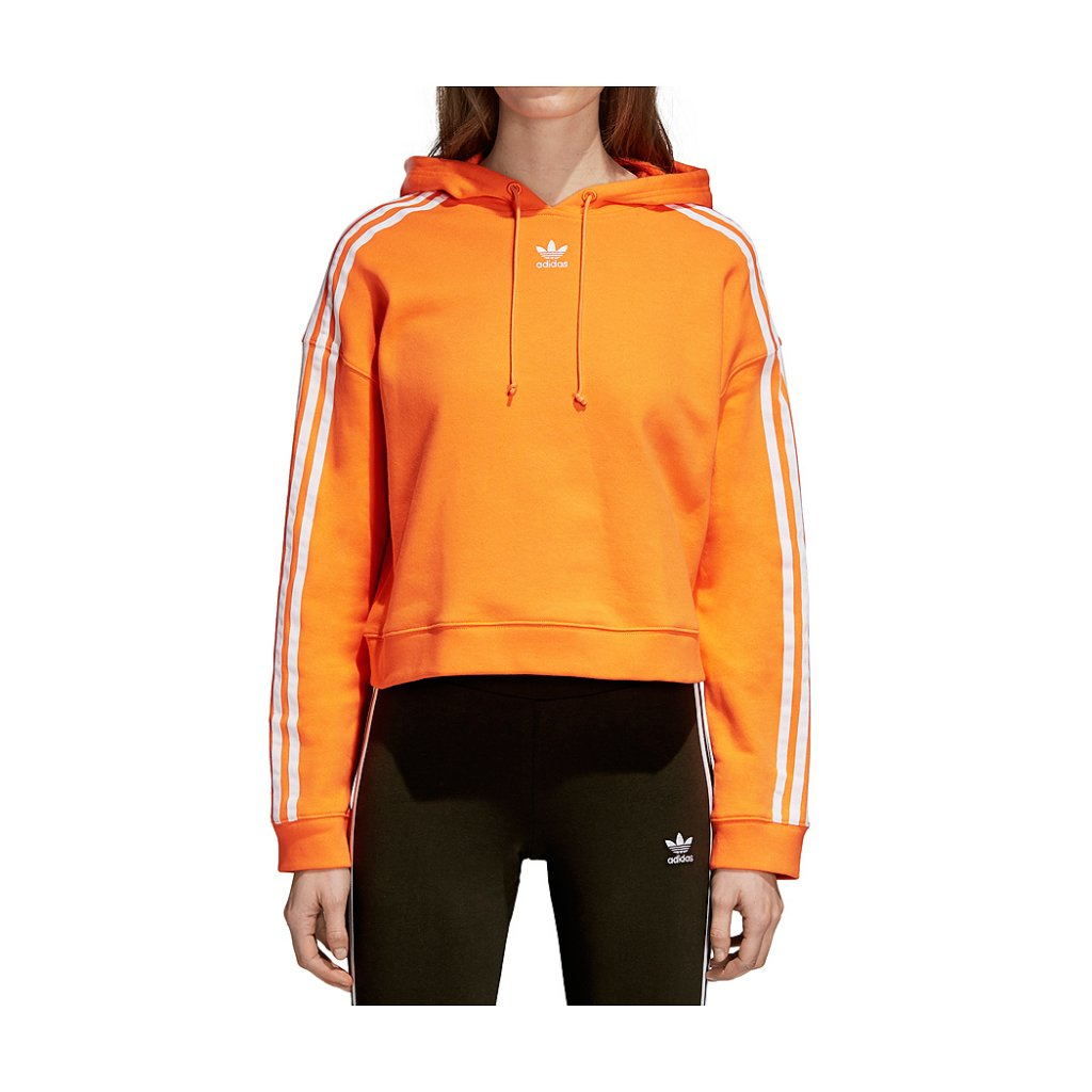 on feet images of hot sales utterly stylish Adidas Originals W Cropped Hoodie, Bright Orange